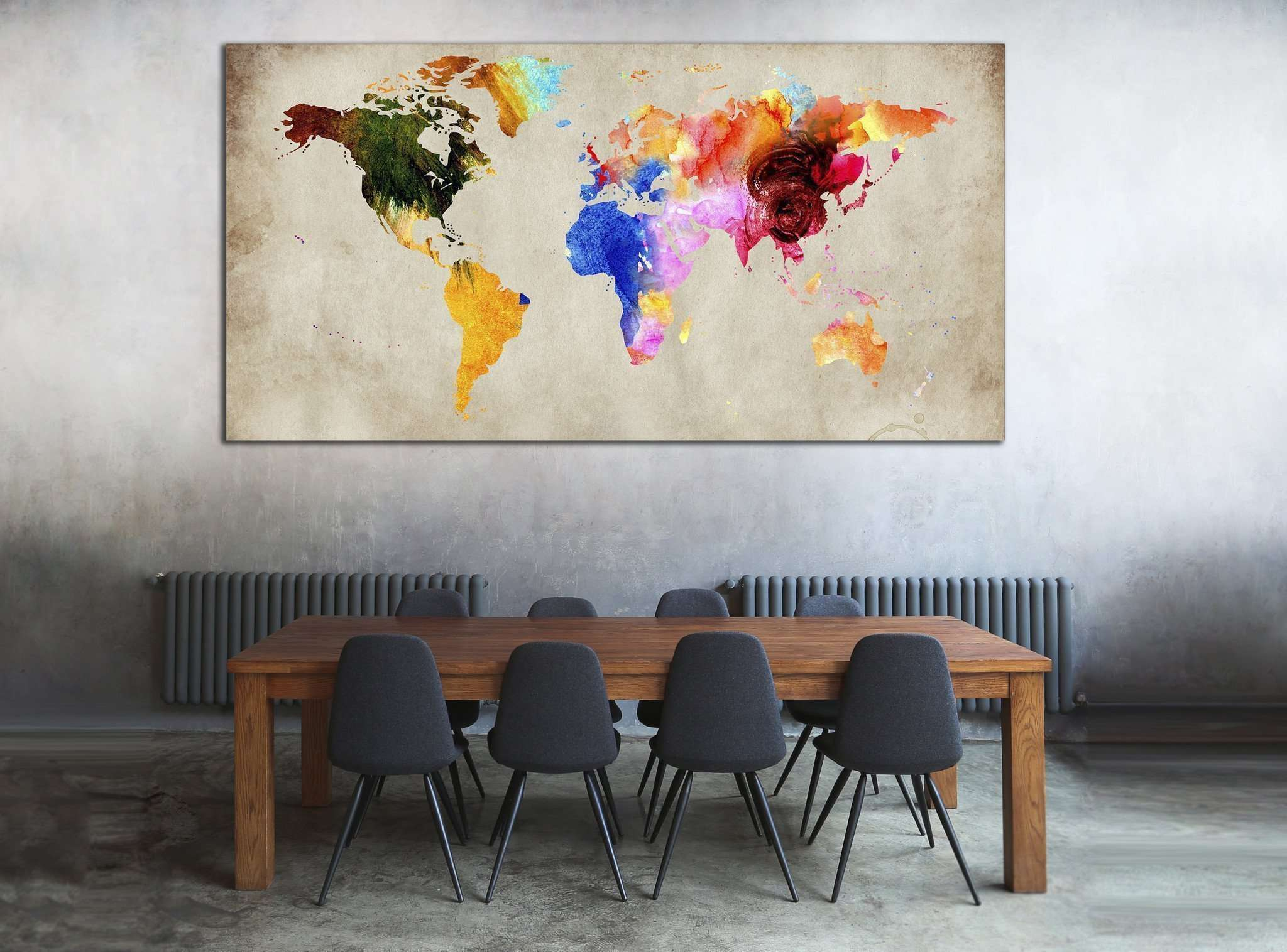 Colorful World Map №870 Ready to Hang Canvas Print