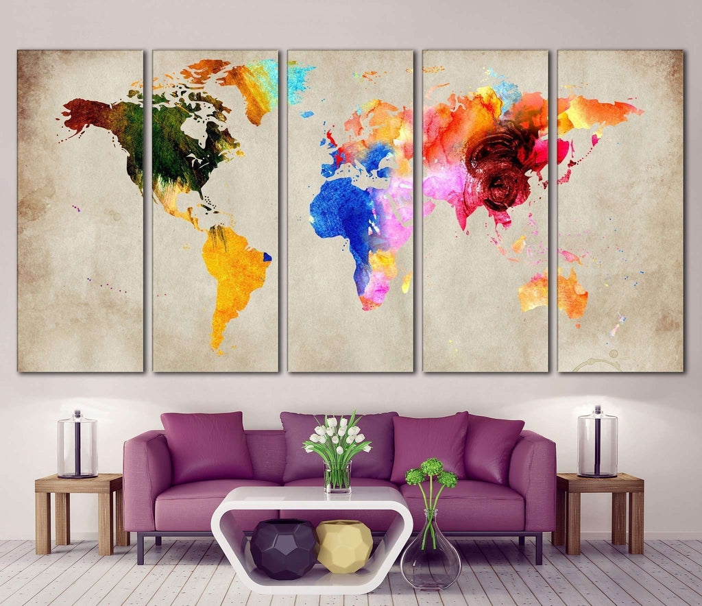 Colorful World Map Ready To Hang Canvas Print Canvas Print - Colorful world map painting