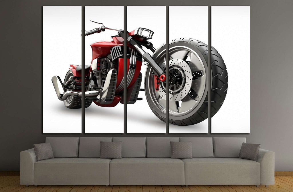 concept motorcycle isolated on white background №1864 Ready to Hang Canvas Print