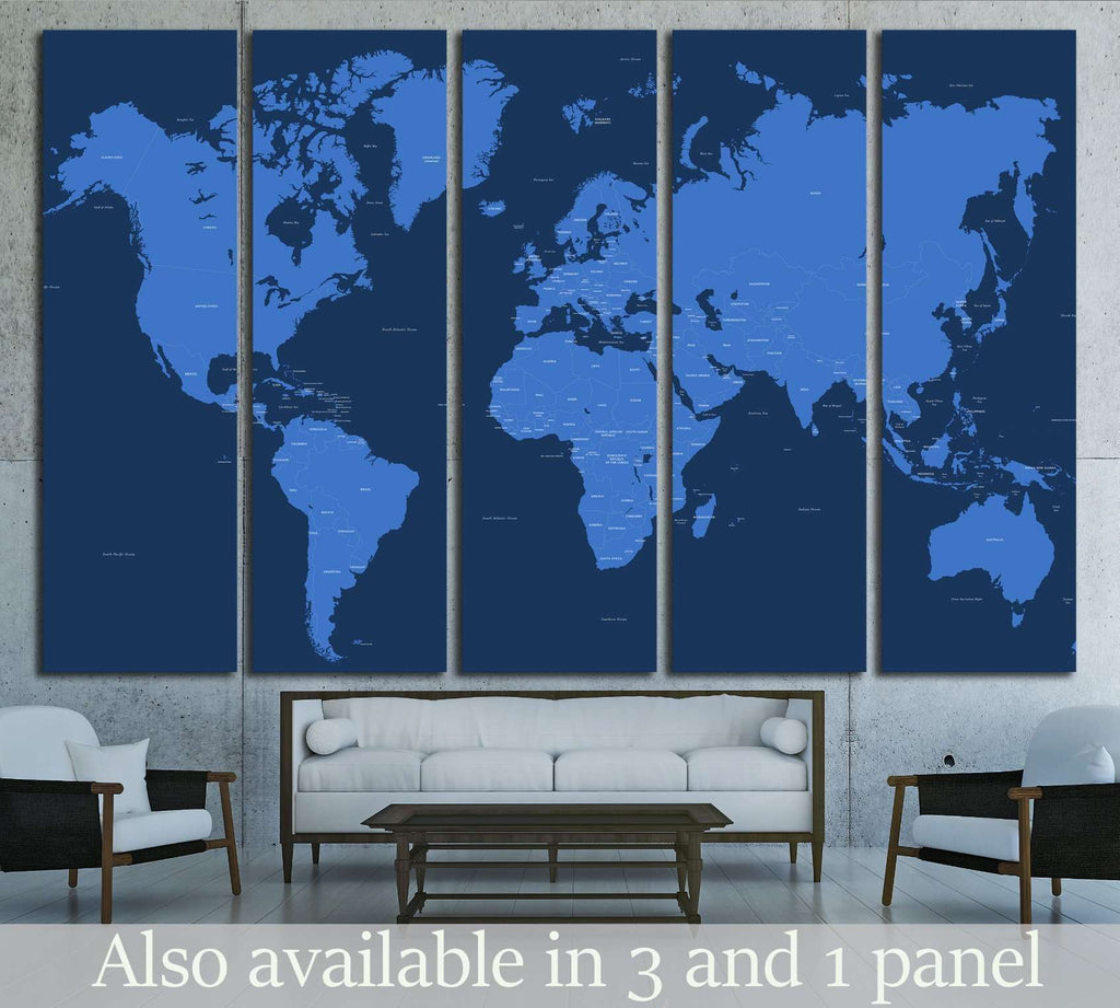 Copy of World Map №1502 Ready to Hang Canvas Print