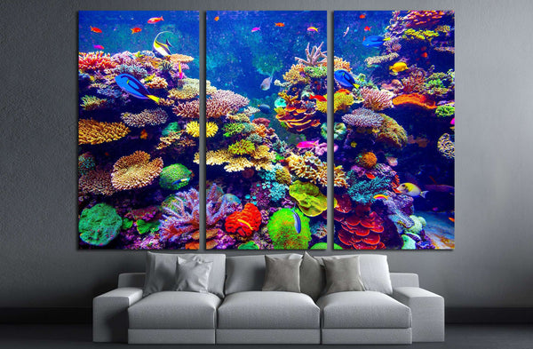 Coral Reef With Tropical Fish Wall Art Canvas Print Zellart