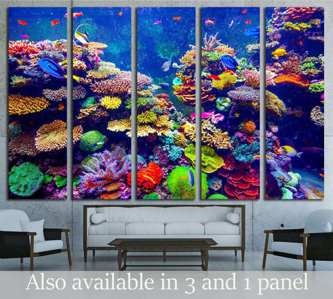 Coral Reef and Tropical Fish in Sunlight. №3064 Ready to Hang Canvas Print