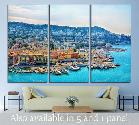 Cote d'Azur France. Beautiful panoramic aerial view city of Nice, France. Luxury resort of French riviera №2398 Ready to Hang Canvas Print