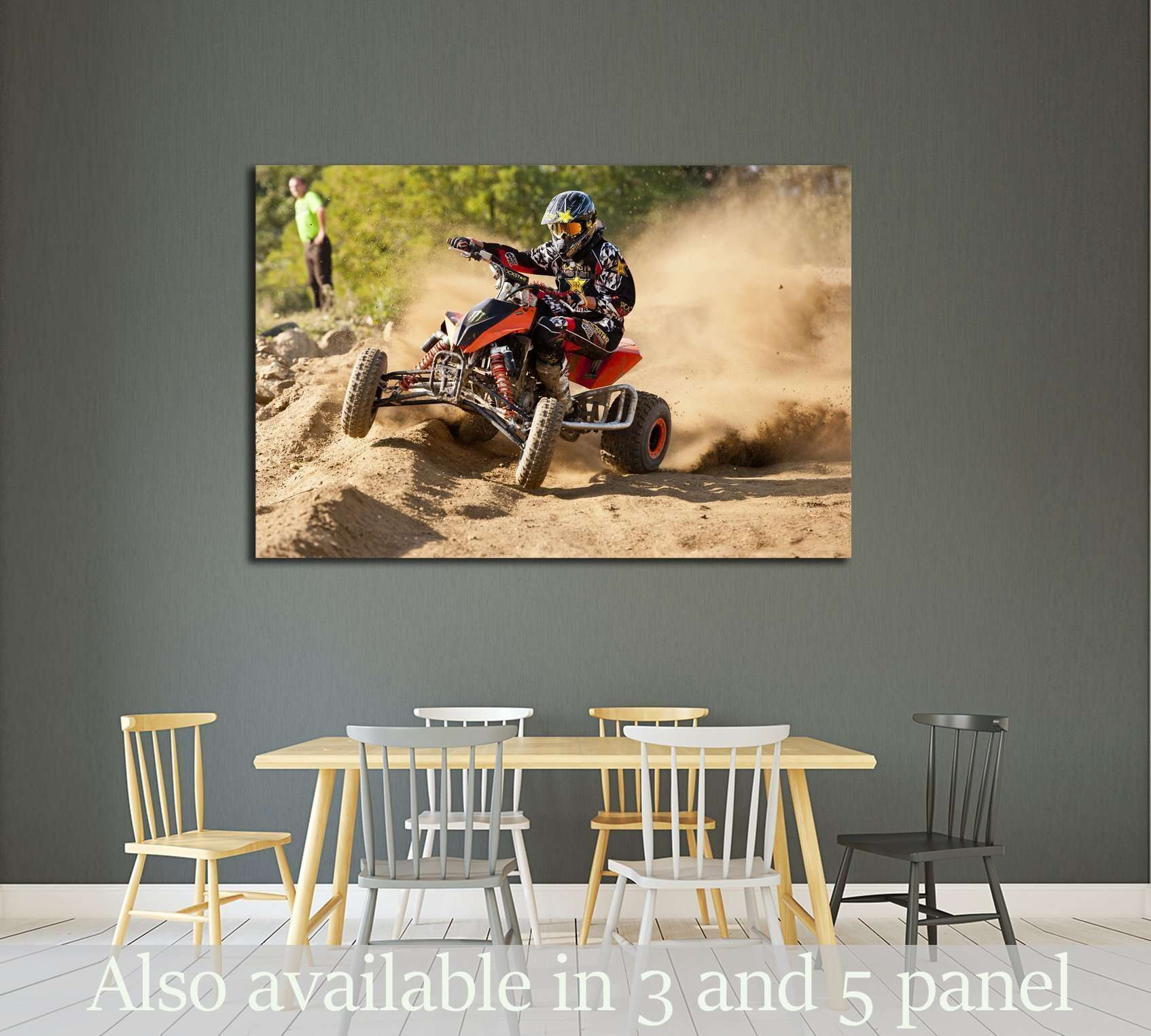 Professional dirt bike rider on top of vulcan closeup Print Poster or Canvas