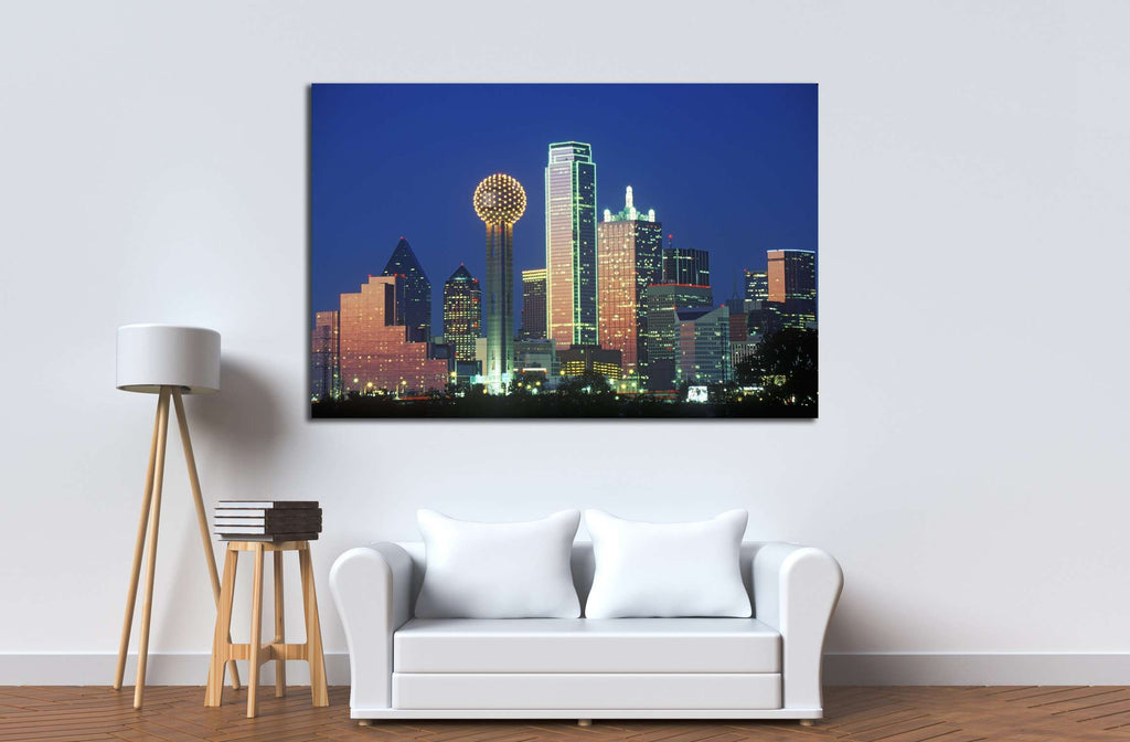 Dallas tx skyline at night №2153 ready to hang canvas print