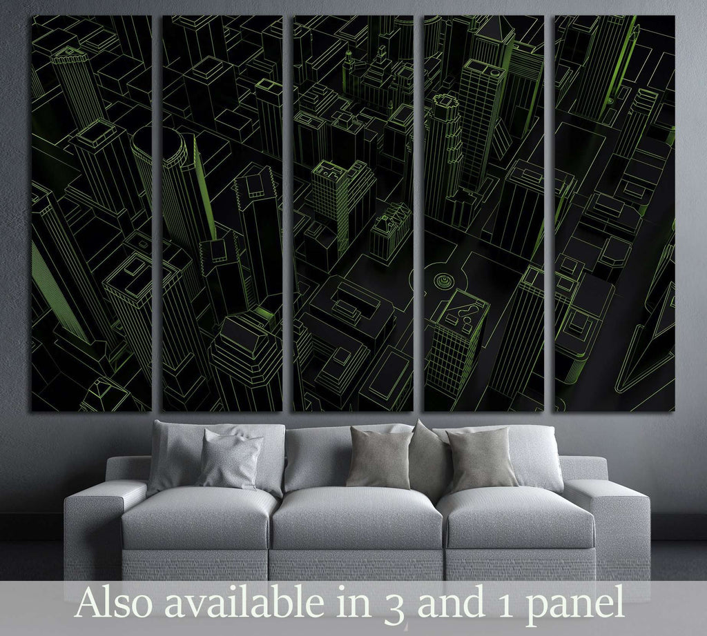 dark low poly city green mesh  3d rendering №2736 Ready to Hang