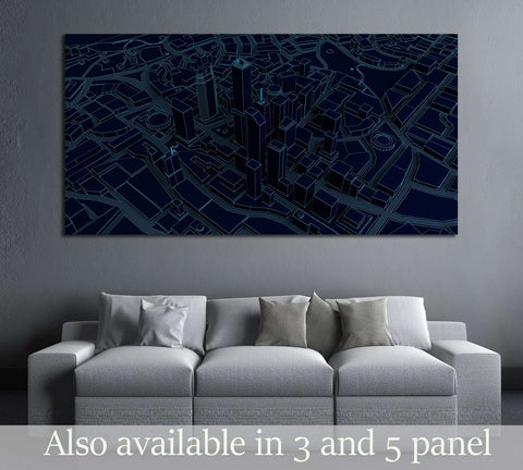 dark low poly city views from above. 3d rendering №3060 Ready to Hang Canvas Print