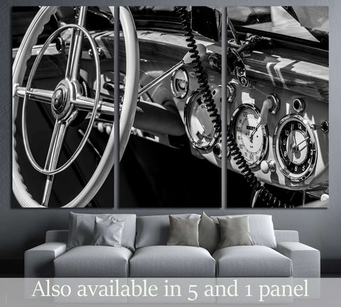 dashboard old car in black and white retro №3280 Ready to Hang Canvas Print
