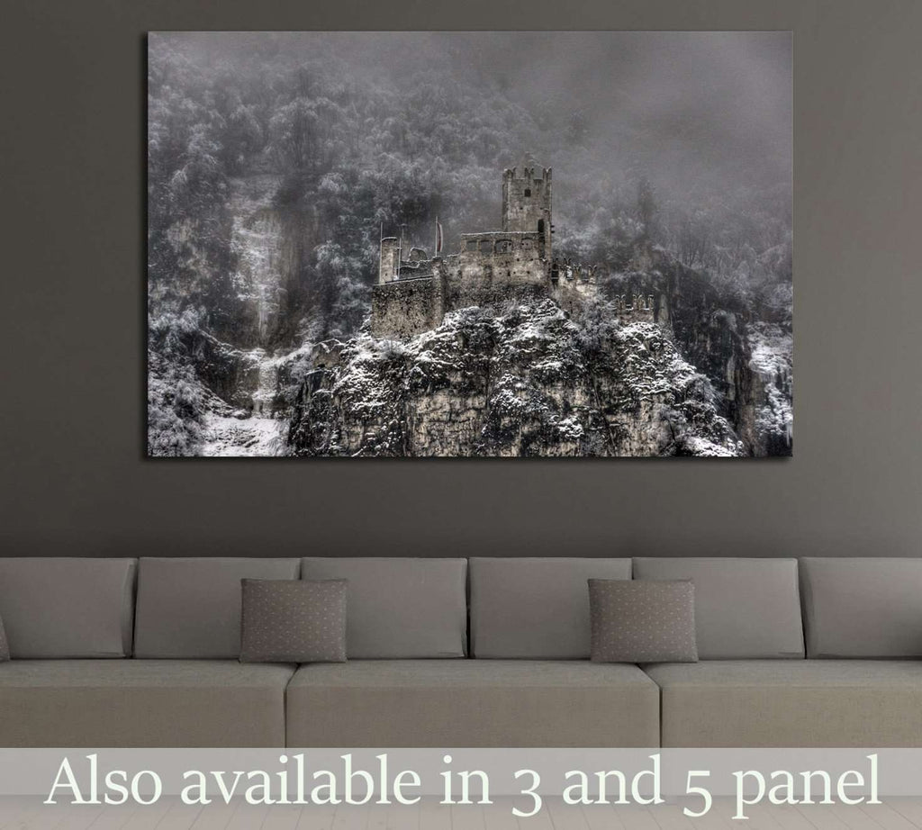 Decayed castle with clouds and snow №1790 Ready to Hang Canvas Print