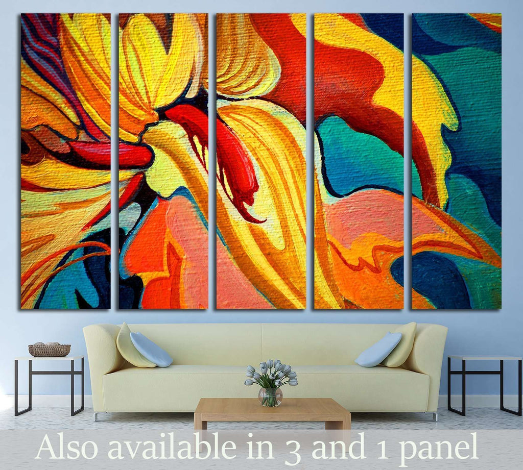 decorative flower painting by oil on canvas, illustration №2553 Ready to Hang Canvas Print