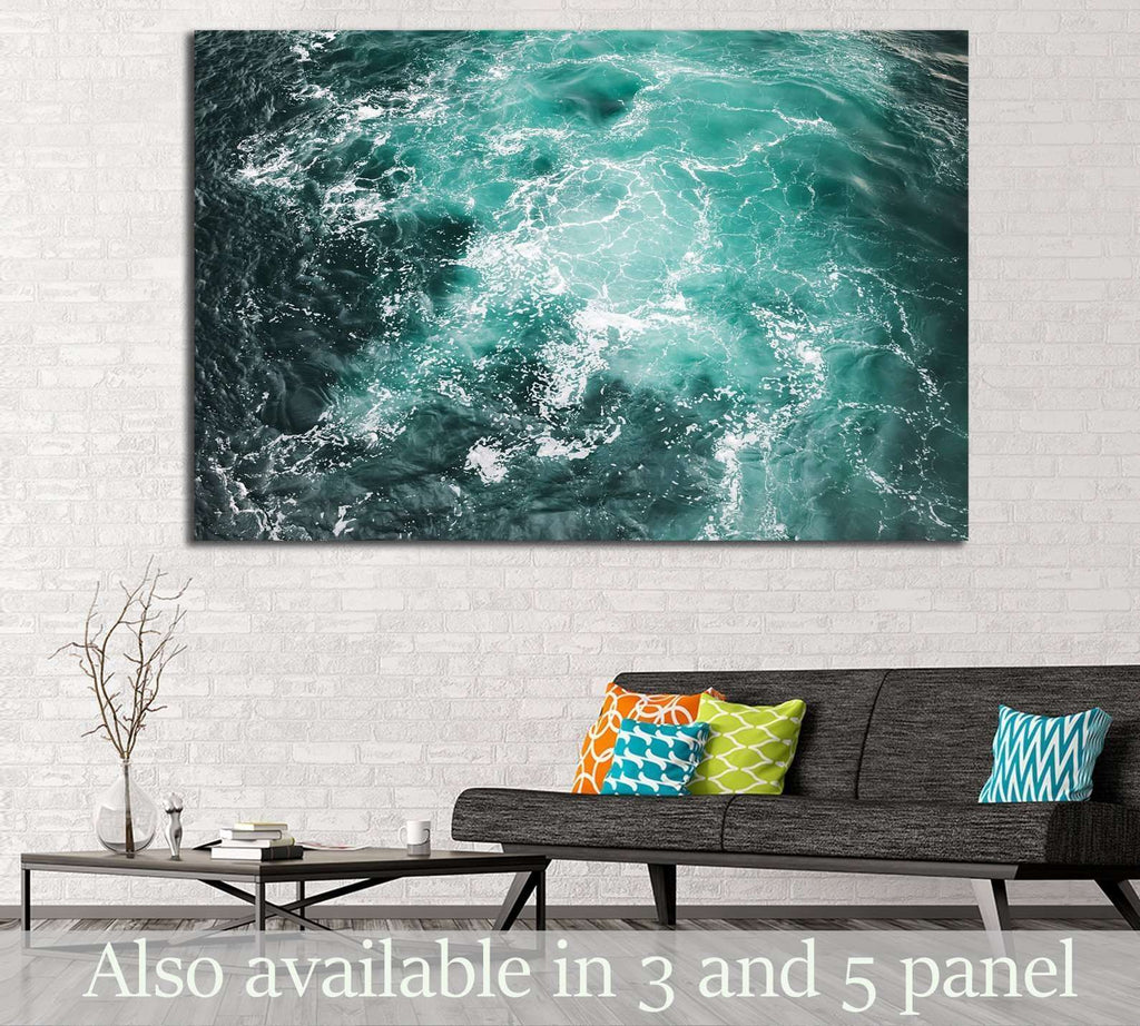 Deep blue stormy sea water surface with white foam №1404 Ready to Hang Canvas Print