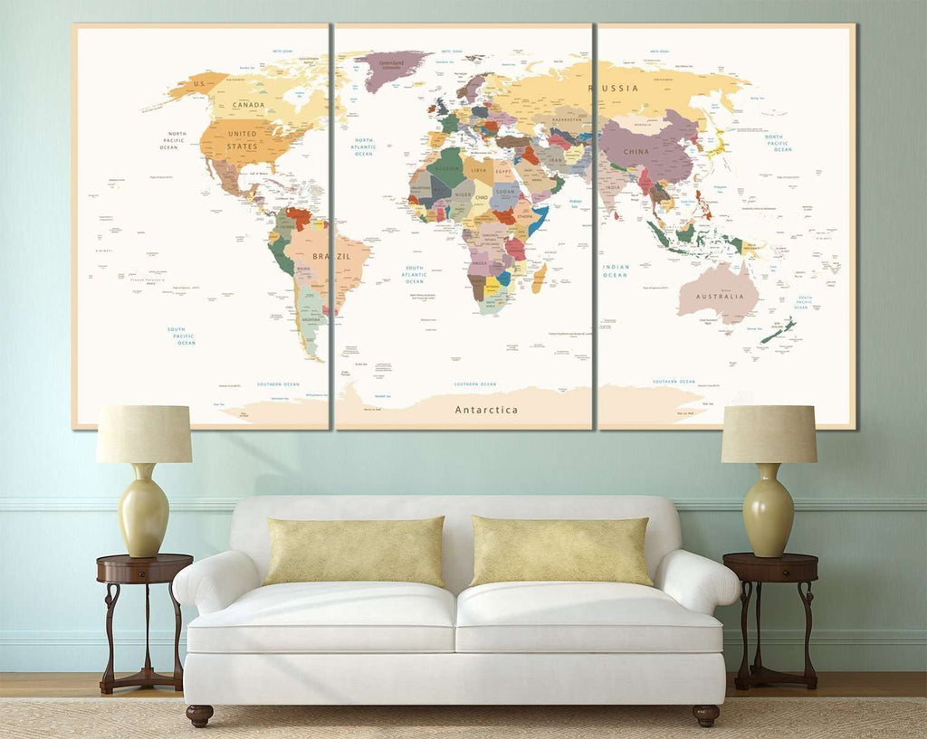 Detailed World Map №112 Ready to Hang Canvas Print