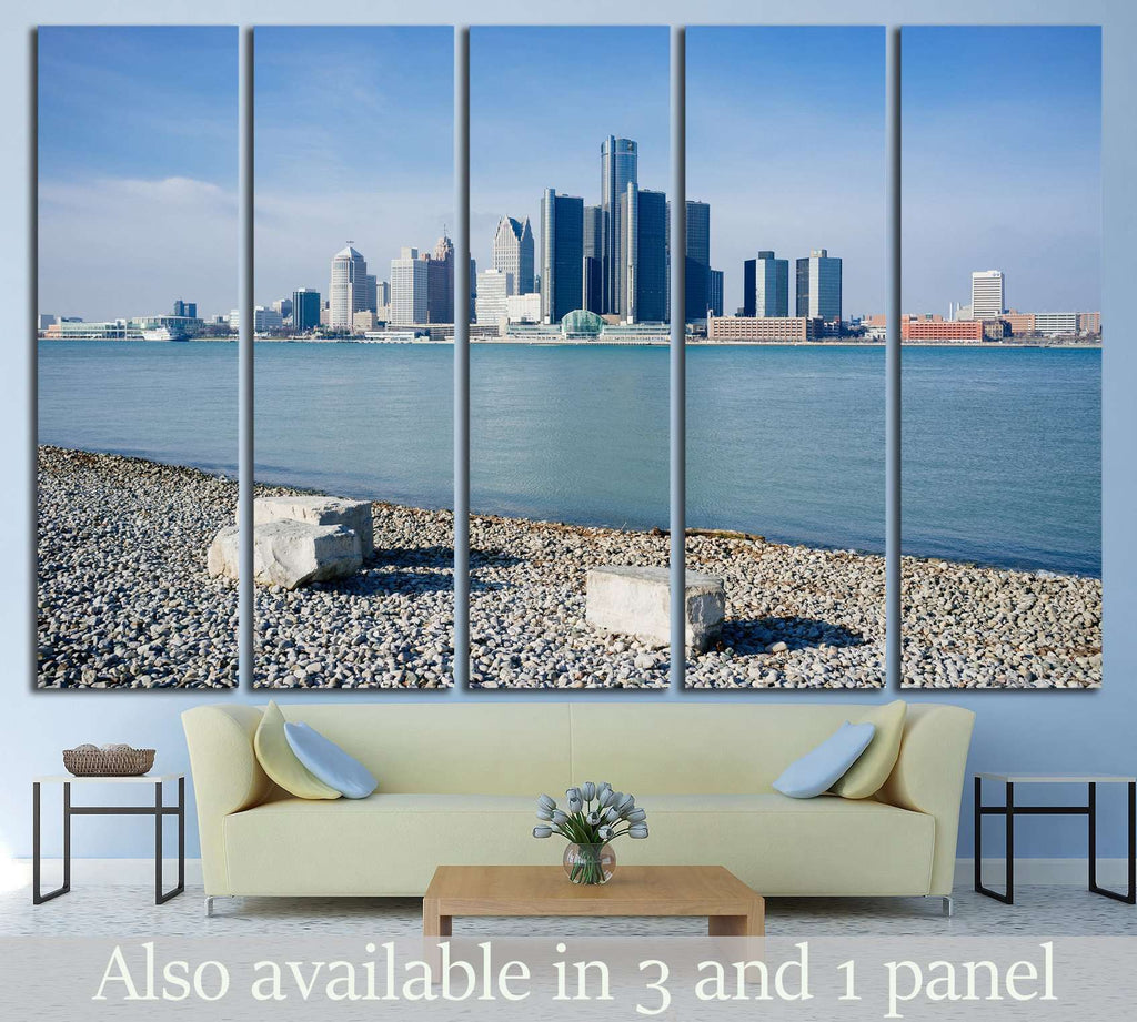 Detroit City, Riverfront Trail, Windsor, Ontario №1274 Ready to Hang Canvas Print