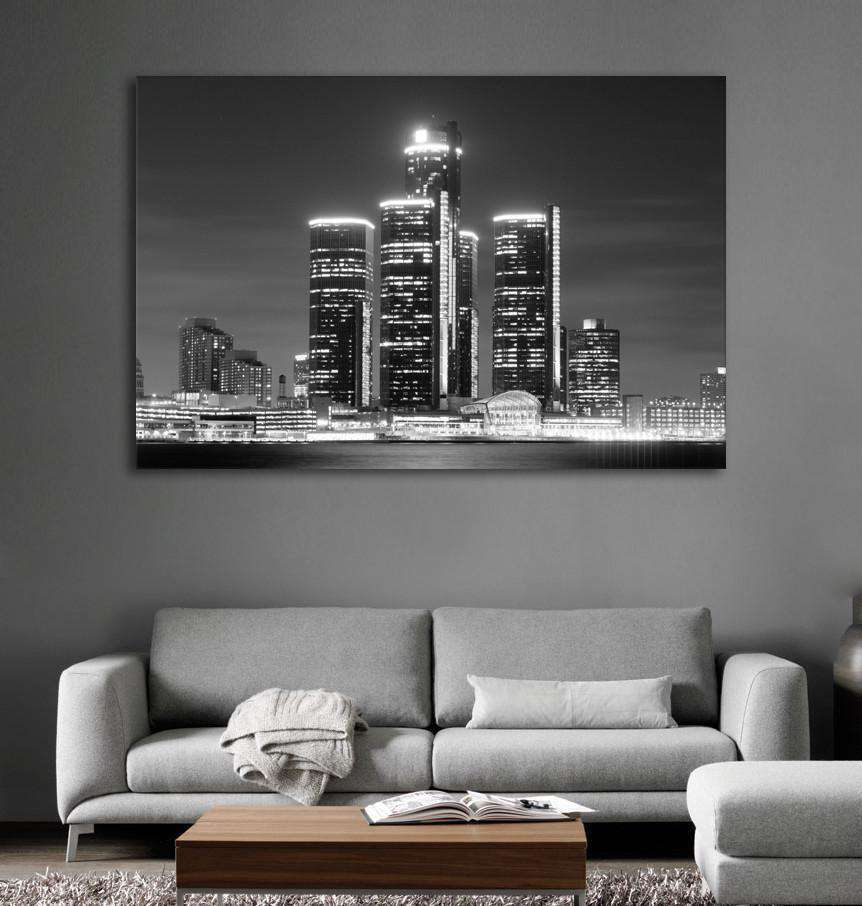 Detroit Skyline №1100 Ready to Hang Canvas Print
