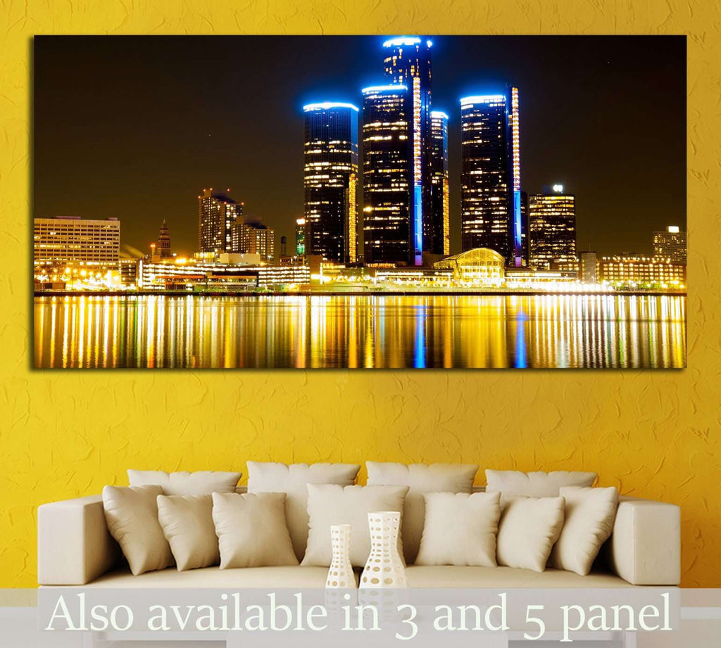 Detroit Skyline at Night №2258 Ready to Hang Canvas Print Canvas ...