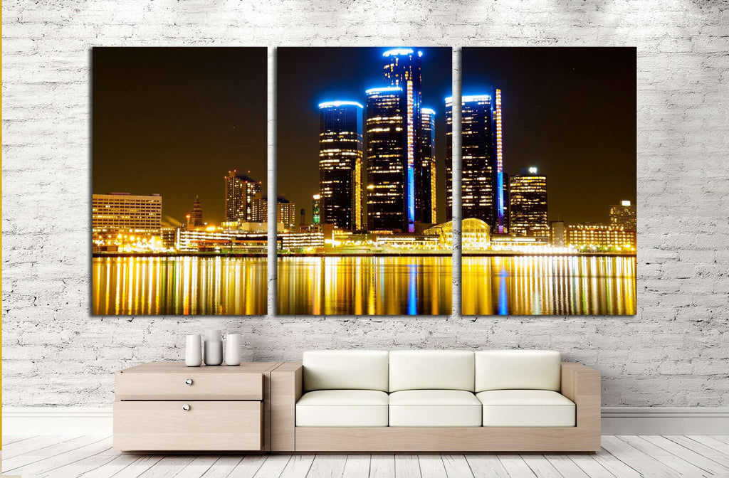Detroit Skyline at Night №2258 Ready to Hang Canvas Print