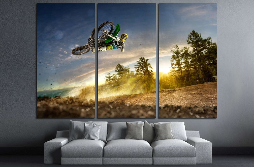 Dirt bike rider is flying high in evening №1870 Ready to Hang Canvas Print