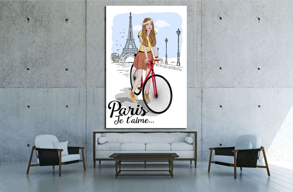 Discover Paris sketch canvas with girl on bike and eiffel tower vector illustration №4595 Ready to Hang Canvas Print
