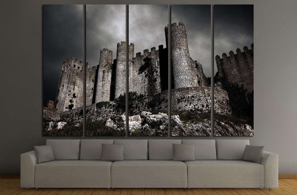Disturbing scene with medieval castle at night with stormy sky №1791 Ready to Hang Canvas Print