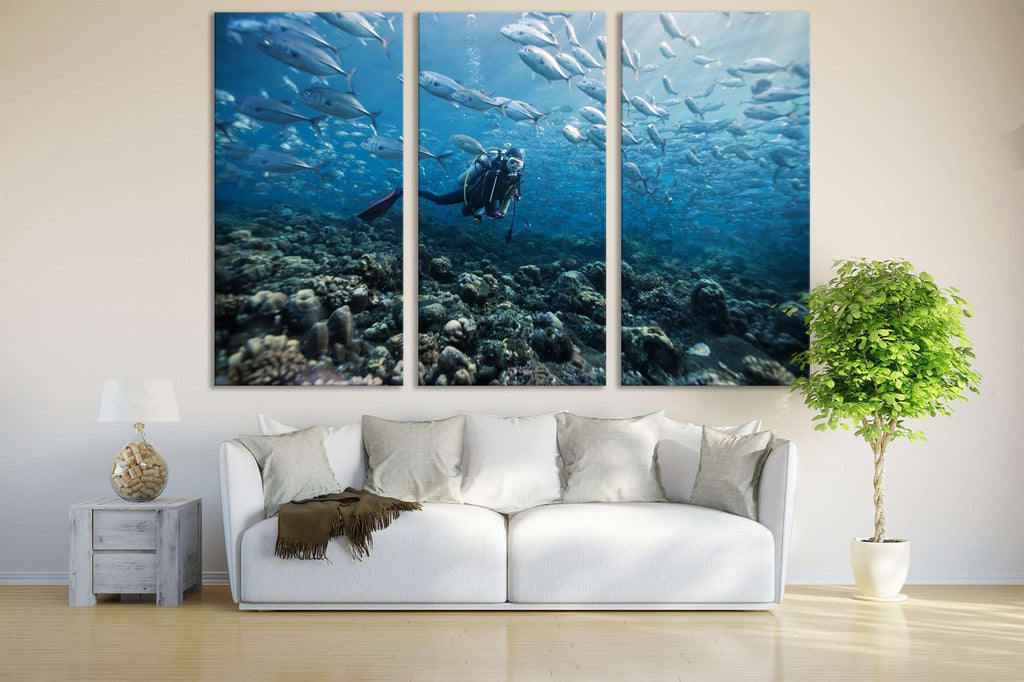 Diving Underwater №669 Ready to Hang Canvas Print