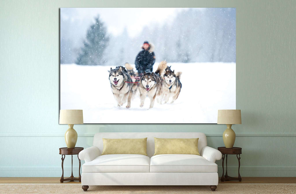 Dogs team and Snow №7 Ready to Hang Canvas Print