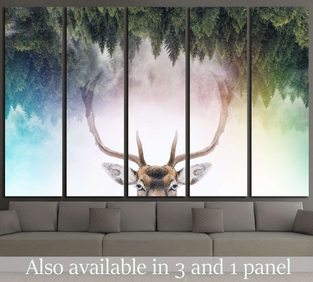 Double exposure of an antler and it's habitat №1828 Ready to Hang Canvas Print