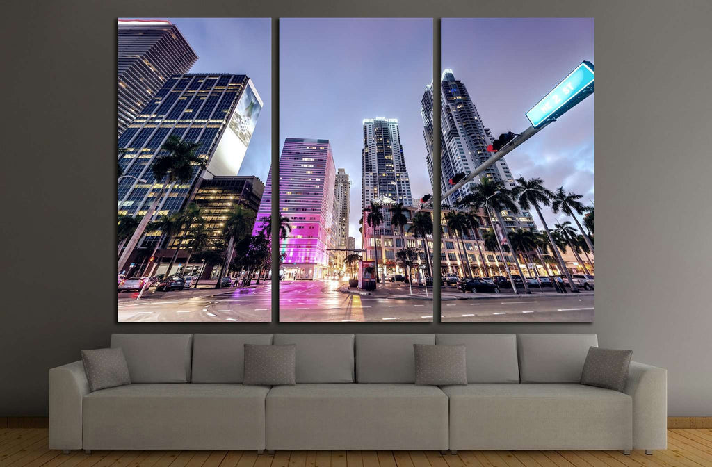Downtown Miami at night №1097 Ready to Hang Canvas Print