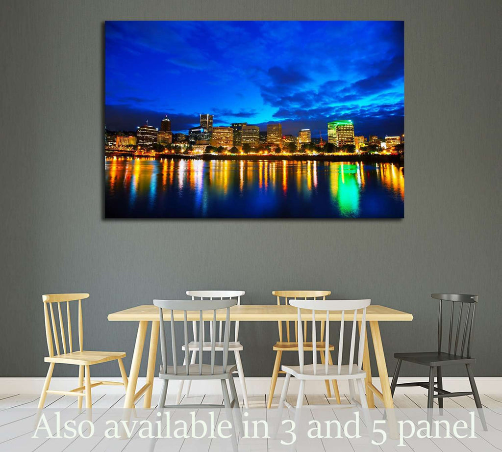 Downtown Portland, Oregon cityscape at the night time №2175 Ready to Hang Canvas Print