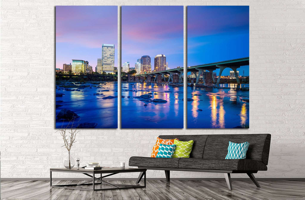 Downtown Richmond, Virginia skyline and the James River at twilight №2068 Ready to Hang Canvas Print