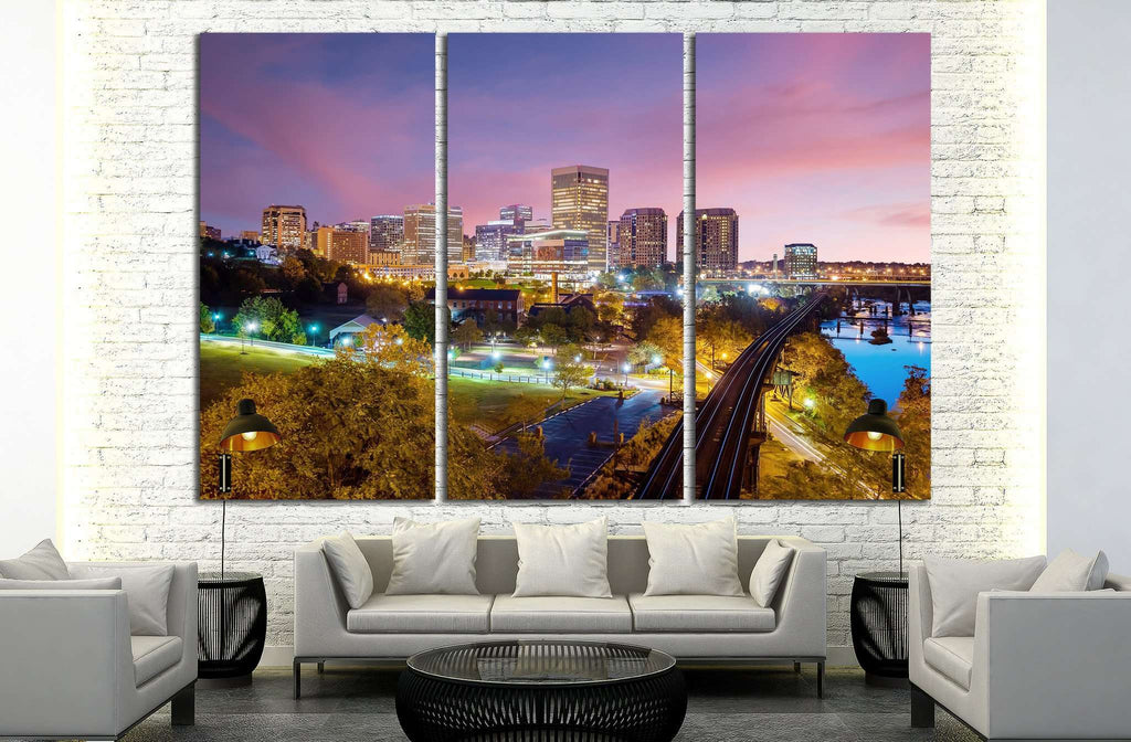 Downtown Richmond, Virginia skyline and the James River at twilight №2078 Ready to Hang Canvas Print