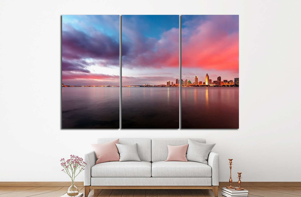 Downtown San Diego at night №1031 Ready to Hang Canvas Print