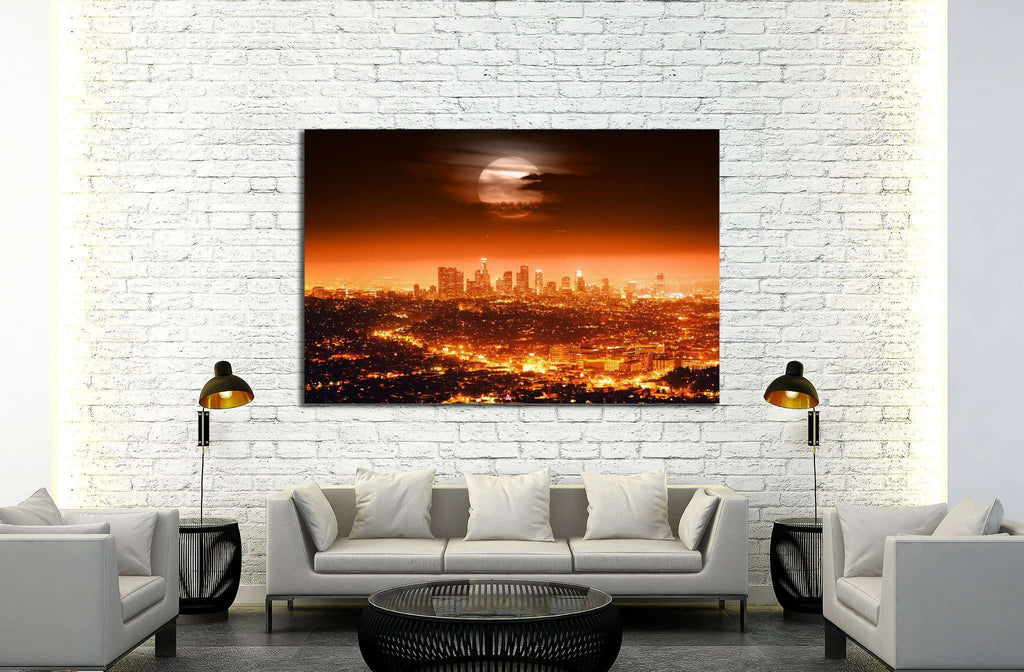 Dramatic full moon over Los Angeles skyline at night №1933 Ready to Hang Canvas Print
