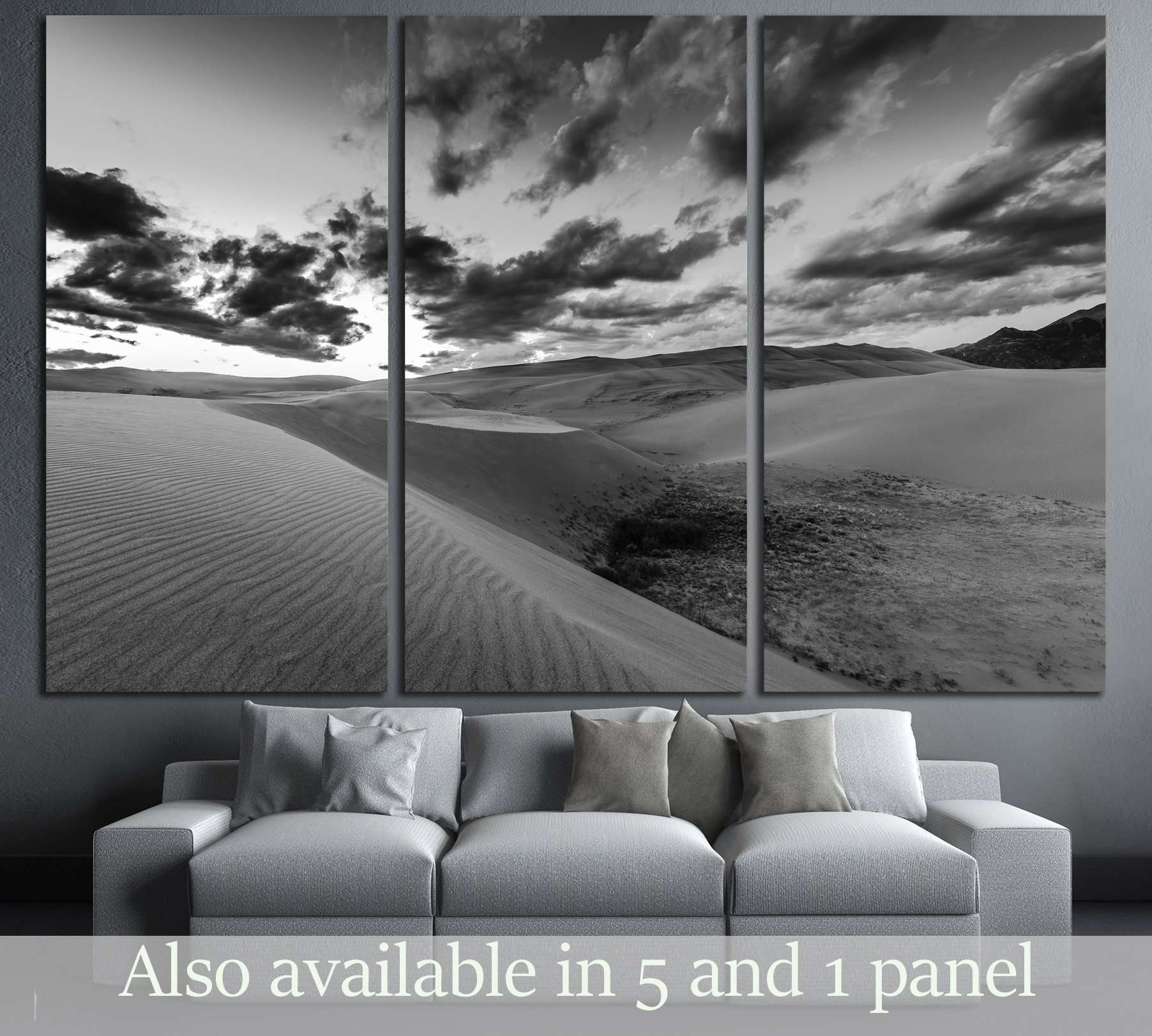 Dramatic Sky Over Desert Dunes Black And White Landscapes Photography Zellart