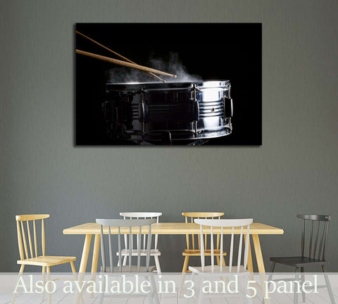 Drum sticks hit on the snare drum in black background, close-up, low key №3276 Ready to Hang Canvas Print
