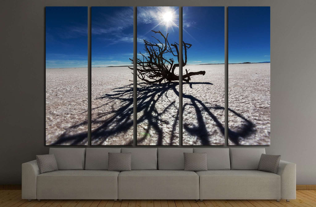 Dry tree in Salar de uyuni, Bolivia №1964 Ready to Hang Canvas Print