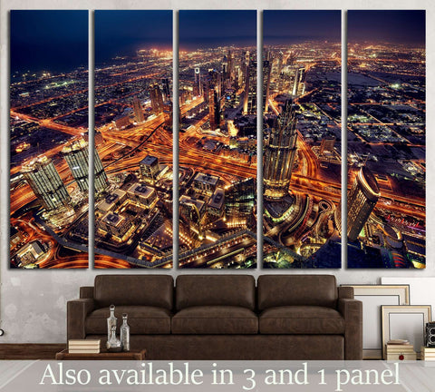 Dubai city lights. Night landscape №1437 Ready to Hang Canvas Print