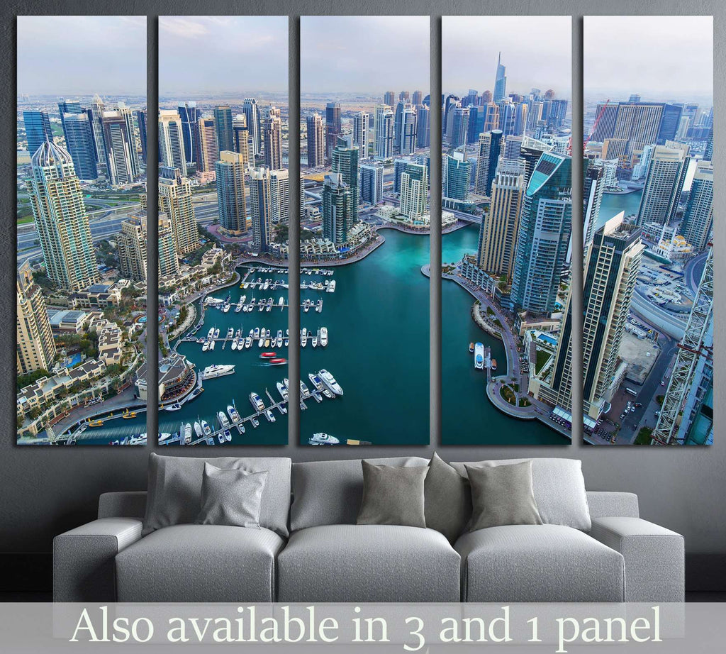 Dubai Marina skyscrapers, Dubai, United Arab Emirates №1192 Ready to Hang Canvas Print