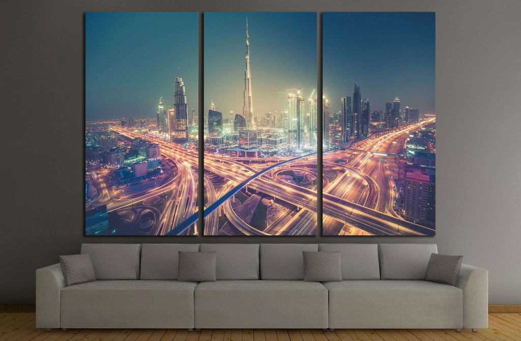 Dubai skyline at night with beautiful city with lights close to it's busiest highway №2205 Ready to Hang Canvas Print