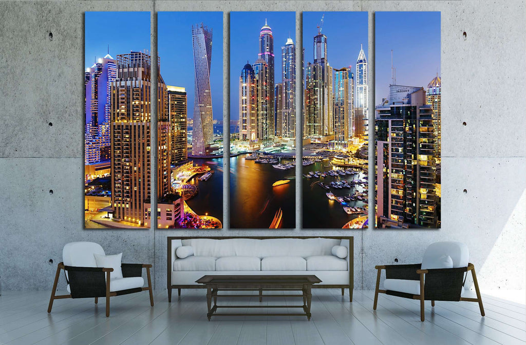 DUBAI, UAE, Dubai Marina at Dusk from the top, Persian Gulf №2265 Ready to Hang Canvas Print