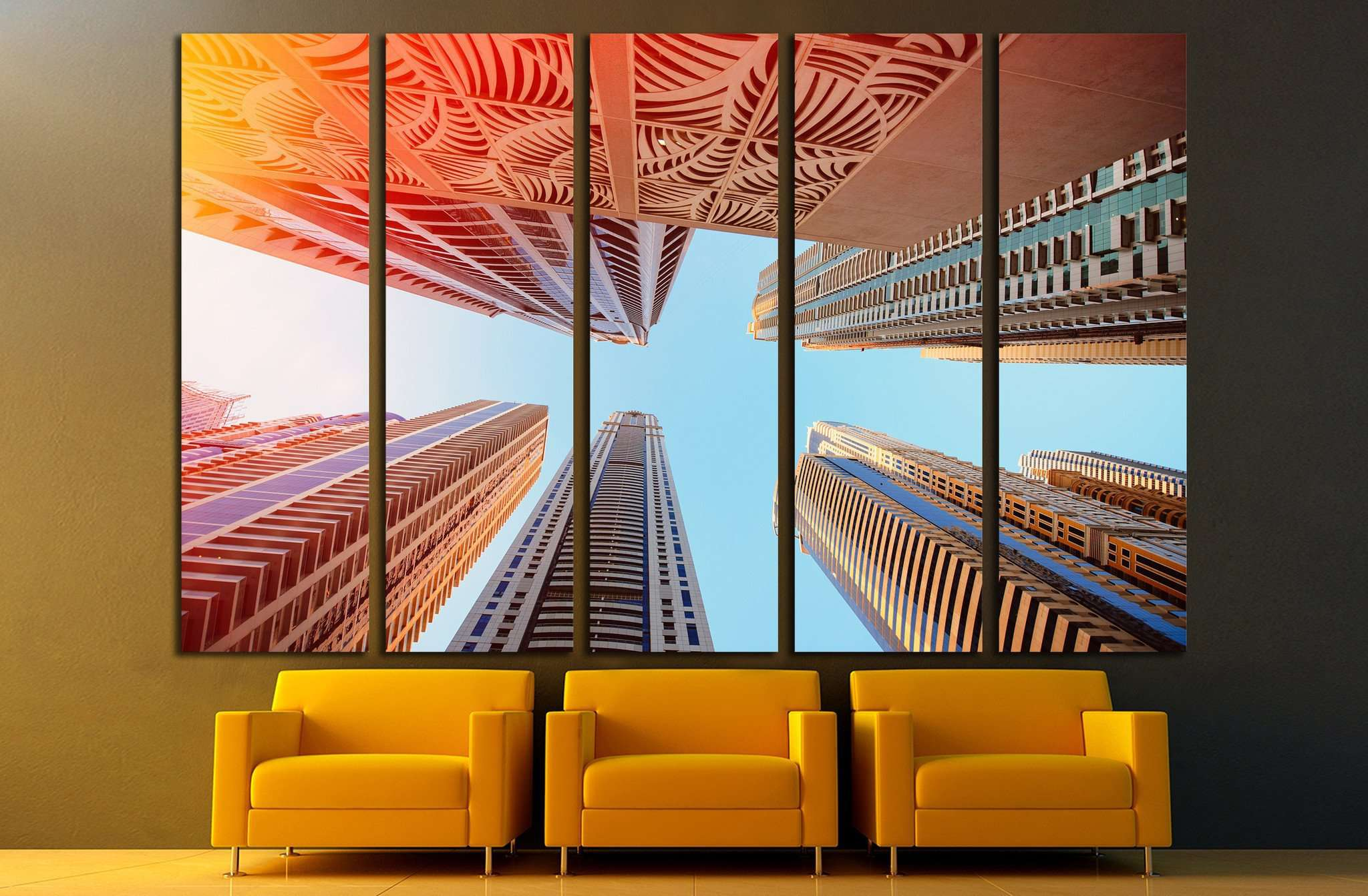 Dubai, UAE, Skyscrapers on a background of the sky in Dubai Marina №1656 Ready to Hang Canvas Print