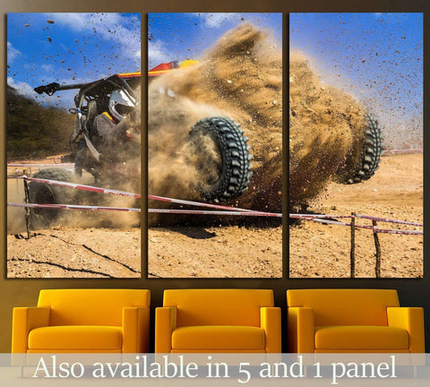 Dust splashed in off-road competition №1875 Ready to Hang Canvas Print