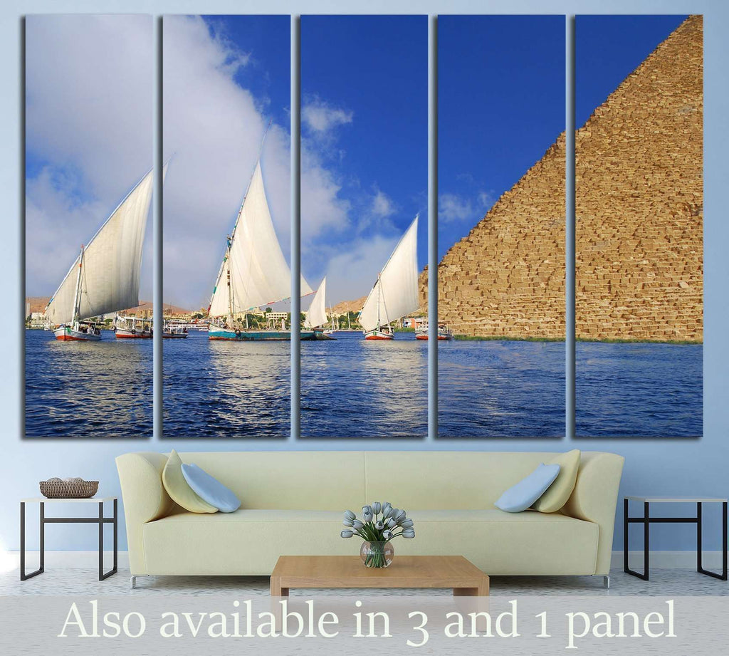 Egyptian Abstraction - Falukas on the Nile and Egyptian Pyramid fantasy №2136 Ready to Hang Canvas Print