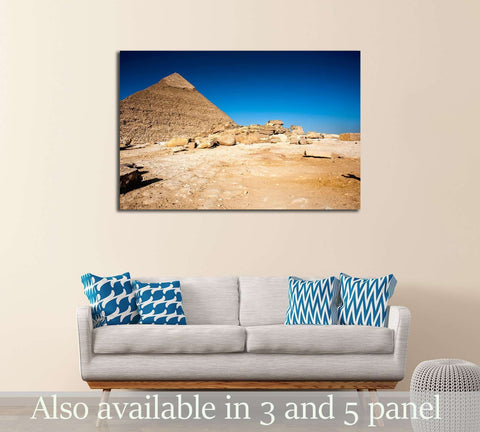 Egyptian Pyramids of Giza and the tomb of the Fourth-Dynasty pharaoh Khafre №3211 Ready to Hang Canvas Print