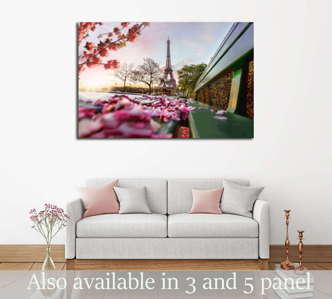 Eiffel Tower during spring time in Paris, France №2738 Ready to Hang Canvas Print