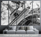 Eiffel tower, Paris. Black and white №1180 Ready to Hang Canvas Print