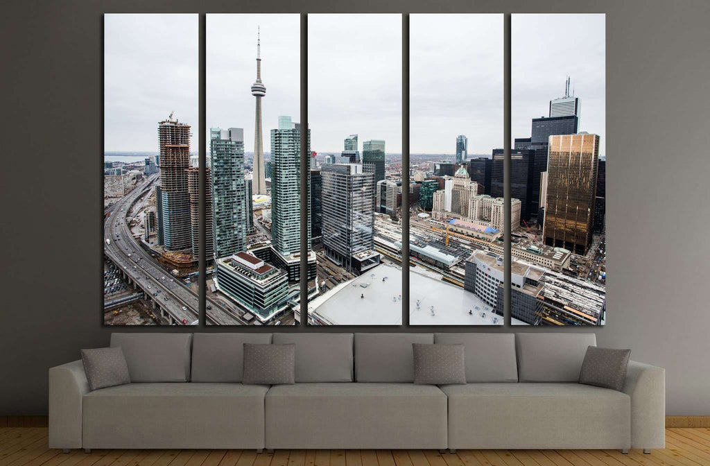 Elevated view of downtown Toronto №2036 Ready to Hang Canvas Print