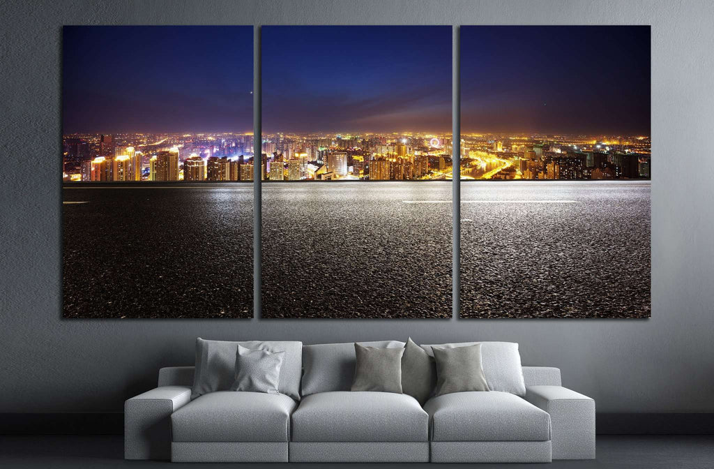 Empty asphalt road and modern skyline at night №1433 Ready to Hang Canvas Print