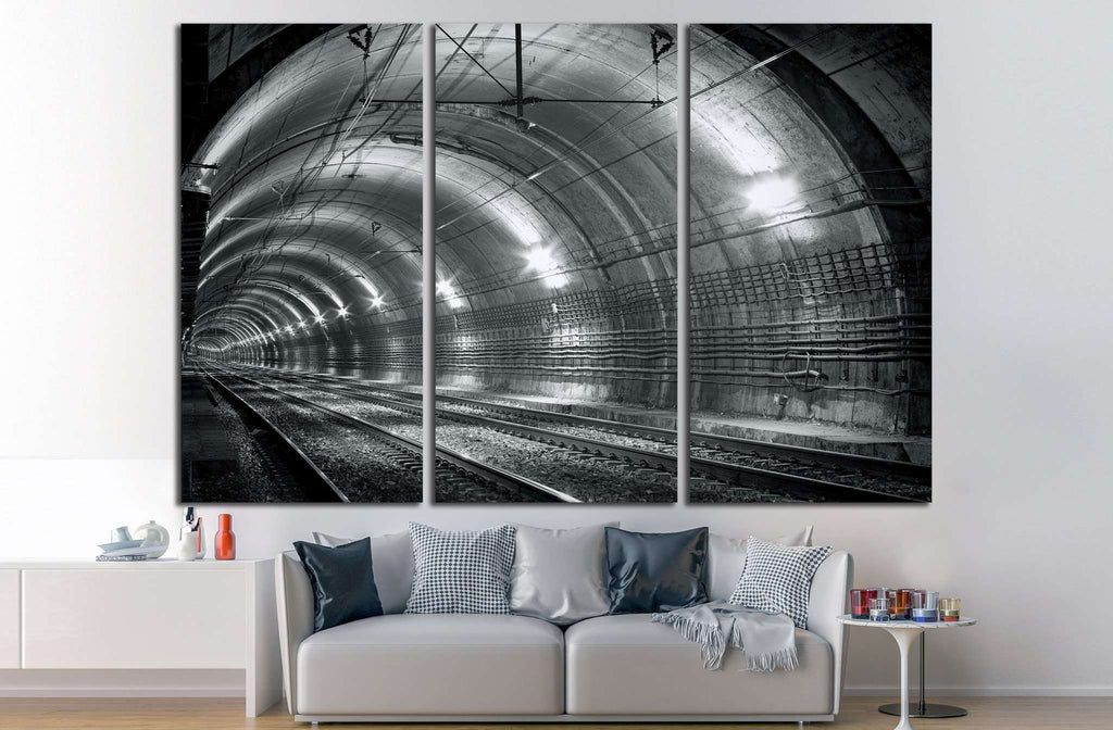 Empty subway tunnel №1310 Ready to Hang Canvas Print
