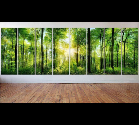 Extra Large Panorama of Green Forest №48 Ready to Hang Canvas Print
