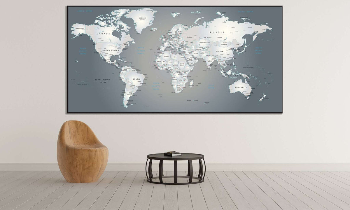 Metallic Large World Map For Office Wall Decor Zellart